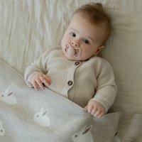 Вязаный текстурный комбинезон из хлопка Топленое молоко