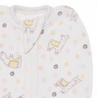 Комплект (конверт-пелёнка, шапочка) для девочки с ламами