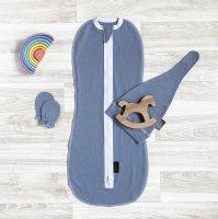 Комплект Mjölk Blue Shadow Set {пеленальный кокон, шапочка, антицарапки}