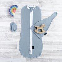 Комплект Mjölk Baby Blue Set {пеленальный кокон, шапочка, антицарапки}
