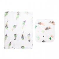 Комплект (фланелевая пеленка + 2 платочка) перья