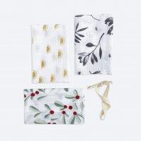 Сет из 3х муслиновых салфеток Mjölk Цветы
