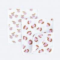 Сет из 2х муслиновых салфеток для кормления Mjölk Леопард/Персики