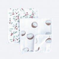 Сет из 2х муслиновых салфеток для кормления Mjölk Кокосы/Брусника