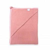 Муслиновая пеленка-полотенце с уголком коралл