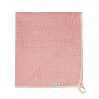 Муслиновая пеленка-полотенце с уголком пудра