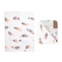 Комплект (фланелевая пеленка + 2 платочка) перья коричневые