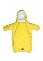 Конверт для новорожденного с рукавами экозамша/ флис, цвет желтый